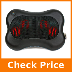 Zyllion Shiatsu Back and Neck Massager - Kneading Massage Pillow with Heat for Shoulders, Lower Back, Calf - Use at Home and Car, Black, (ZMA-13-BK)